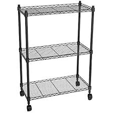 Bakers Rack With Wheels Amazon Com Songmics 3 Tier Wire Shelves Utility Rolling Storage