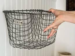 Hanging Baskets For Bathroom Storage Easily Boost Bathroom Storage With Wall Mounted Baskets Hgtv