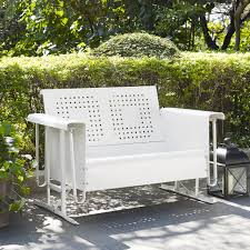 White Wicker Glider Loveseat by Bates Indoor Outdoor Loveseat Glider By Crosley Cast Aluminum
