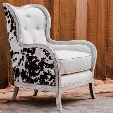 kendra rustic lodge faux cow hide velvet linen wing chair kathy