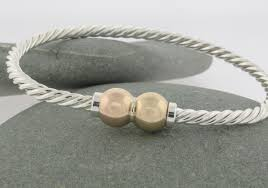 ss u0026 14kt gold twisted double ball exuma fine jewelry