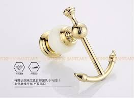 Decorative Coat And Hat Hooks Bathroom Accessories Wall Mounted Brass Jade Golden Single Robe