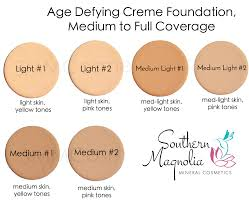 foundation color charts southern magnolia mineral cosmetics