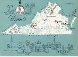 Maps Virginia by Virginia Map Original Vintage 1960s Picture Map Fun Retro