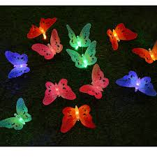12 led solar powered butterfly fiber optic string outdoor