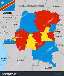 Gabon Map Very Big Size Political Map Zaire Stock Illustration 100865983
