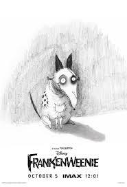 frankenweenie u0027 imax poster featuring original sketch by tim burton