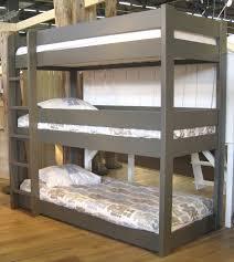 warm dark grey wooden teen loft bed for three people jpg