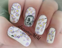flowers of dead cherry blossoms u0026 skull nail art tutorial youtube