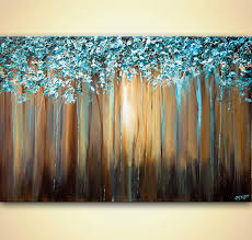 light blue acrylic paint light blue blooming trees textured painting art has many feelings