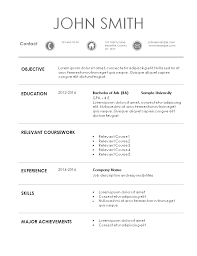 resume template for internship top