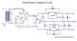 dual voltage supplies power supply using lm 320 and lm 340 working