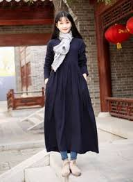 cotton dress linen dress casual loose v neck maxi dresses plus