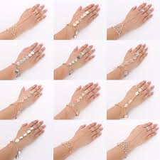 bracelet chain ring images 1pc womens punk metal cuff hand harness slave bracelet chain jpg