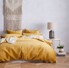 mercer reid luna quilted velvet quilt cover mustard bedroom