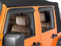 jeep wrangler orange and black rugged ridge 11349 12 front and rear window visors in matte black