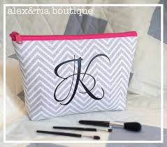 bridal party makeup bags personalized cosmetic bag bridal party gift grey chevron