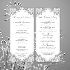 wedding anniversary program wedding program vintage silver gray printable word