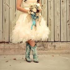 short fluffy wedding dress with teal cowgirl boots now this i