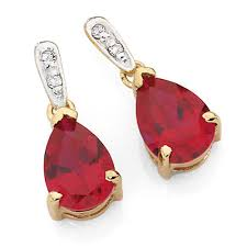 ruby drop earrings earrings with created ruby diamonds in 10ct yellow white gold