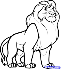 draw mufasa lion king step step disney characters