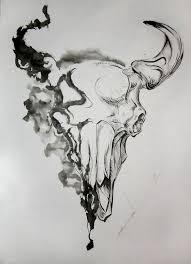 unique grey half smoke bull skull design tattooimages biz