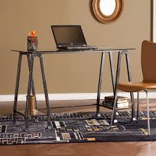 southern enterprises writing desk southern enterprises metal glass a frame desk distressed black