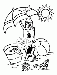 summer on the beach coloring page for kids seasons coloring pages