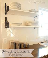 How To Install Kitchen Backsplash Glass Tile Kitchen Subway Tile Back Splash In A Herringbone Pattern Simply
