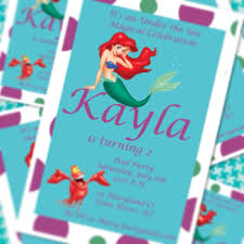 little mermaid princess ariel pool party birthday invitation