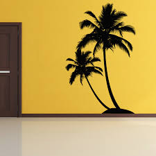 palm tree wall mural is easy to apply and remove and what a fun bring the beach to your home with this dual palm tree island wall decal sticker
