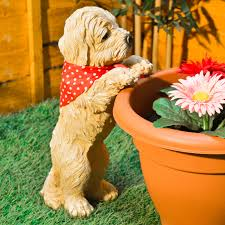 peeping puppy garden ornament decoration plant pot outdoor