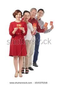 tet envelopes cheerful holding tet greeting stock photo