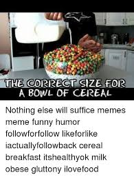 Cereal Bowl Meme - tihe cdirrect size for a bowl of cereal nothing else will suffice