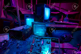 light painted abandoned cinema studio 3 crashed tv sets still