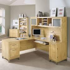 Bush Somerset LShaped Desk with Hutch  Maple  Walmartcom