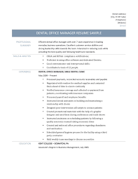 Payroll Operation Manager Resume Dental Office Manager Resume Template And Description