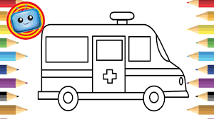 how to draw an ambulance colouring book simple drawing game
