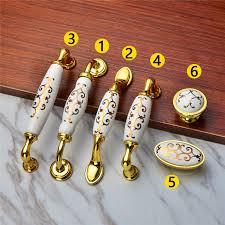 Brass Handles For Kitchen Cabinets by Aliexpress Com Buy Drawer Luxury Gold Flower Ceramic Door
