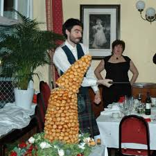 cutting the croquembouche croquembouche profiterole tower wedding