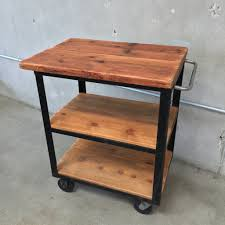 Industrial Kitchen Cart by Industrial Wood Rolling Cart With Reclaimed Wood Top U2013 Urbanamericana