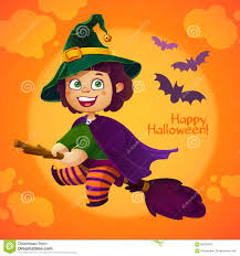 happy halloween witch flying on broom stock vector image