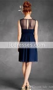 navy chiffon junior bridesmaid dresses 2015 sheer neck short party