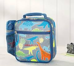 dino registry mackenzie neon multi dino lunch bag pottery barn