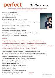 ed sheeran perfect text perfect by ed sheeran song worksheet free esl printable