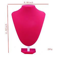 display holder necklace images Rose red pink velvet necklace jewelry mannequin bust display jpg