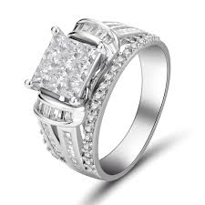 sterling engagement rings images Princess cut 925 sterling silver white sapphire women 39 s engagement jpg