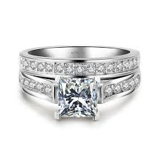 engagement and wedding ring set 1 0 ct brilliant princess cut 925 sterling silver engagement