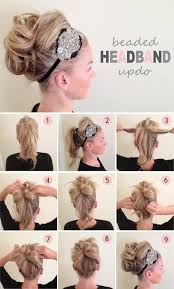 cute hairstyles with remy bump it hair gorgeous beaded hairband updo 100 remy clip in human hair