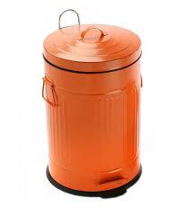 poubelle de cuisine poubelle de cuisine rétro en métal orange 20l